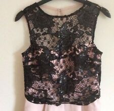 Lipsy  Size 10 Black & Nude Sequin Lace Top Prom Skater Dress Party New
