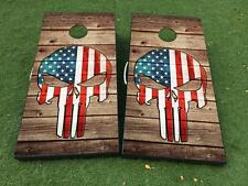 Punisher with USA US flag Cornhole Board Game Decal VINYL WRAPS with LAMINATED