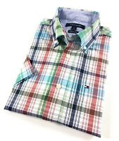 TOMMY HILFIGER Shirt Men's Short Sleeve Poplin Blue/Red/ Green Check Classic Fit