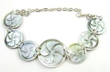 Hand Carved Seven Flower Mother of Pearl Shell Bracelet Handmade Jewelry EA051