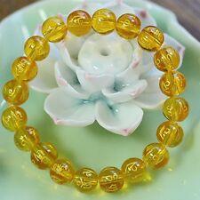 8mm Tibetan Yellow Synthetic crystal Bead om mani padme hum Amulet Bracelet