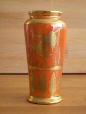 ART DECO ROYAL DOULTON ORANGE LUSTRE VASE WITH GILT FIGURES DEER HUNTING