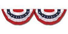 USA Patriotic Bunting 2 Pack Set 1.5 x 3 Pleated Mini Fans With Stars