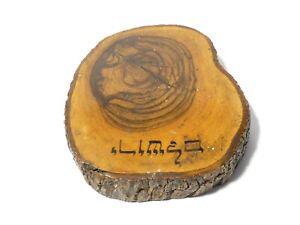 Antique Jerusalem Sliced Tree Branch Wood Paper Weight Polished Souvenir c1900