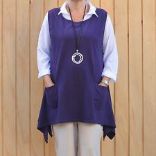 Lagenlook Cotton Jersey Sleeveless Tunic Vest Purple Plus Size 16-20
