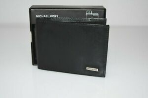 Michael Kors Men's Wallet Black Smooth Silver Grain Leather Bifold Passcase $40