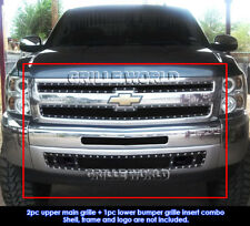 Fits 2007-2013 Chevy Silverado 1500 Black Rivet Mesh Grill Replace Combo Pack
