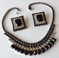 VINTAGE WEISS SIGNED BLACK AND CLEAR RHINESTONE NECKLACE & EARRINGS WD8