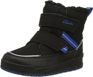 Clarks JUMPER JUMP Kids WATERPROOF Black Warm-lined Boots 10 - 5G Fit NEW BOXED