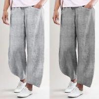 ZANZEA 8-24 Women Pull-On High Waist Chino Pants Ladies Wide Leg Stripe Trousers