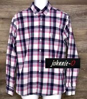 Johnnie-O Men's Pink Blue Plaid Cotton Long Sleeve Button Down Modern Shirt M