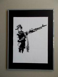 """Banksy """" Crayon Shooter """" ,  Peinture au Pochoir sur Toile , Dismaland Souvenir"""