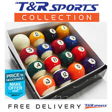 "1-7/8"" Inch Pool Balls Set for Pool Billiards Snooker Free Postage Set of 16"