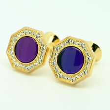 Gold and Purple Wedding Cufflinks with Stones