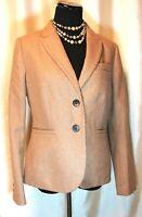 EUC Boden British Tweed by Moon 8 100% Wool Beige Lined Classic Blazer Jacket