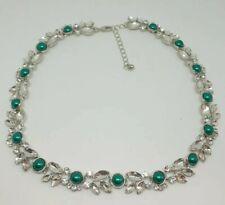 Clear Rhinestone & Emerald Green Pearl Set Collar Necklace