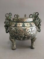 Chinese Antique Brass silver plated inscription tripod Home decorations   u
