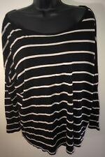 Zara Basic Tee Shirt 3/4 Length Sleeve Black Cream Striped Top