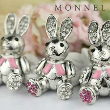 H105 Adorable Easter Pink Crystal Bunny Rabbit Pendant Charm Wholesale (3pcs)