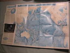 PACIFIC OCEAN + INDIAN OCEAN FLOOR MAP National Geographic June 1992 MINT