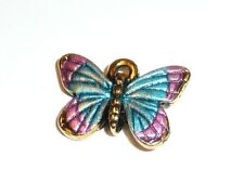"Pretty Colorful Little Butterfly Metal Charm for Bracelet 5/8""x1/2"" Blue & Pink"