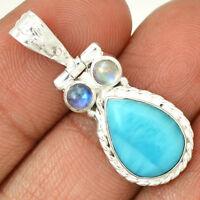 Larimar & Rainbow Moonstone 925 Sterling Silver Pendant Jewelry AP8177