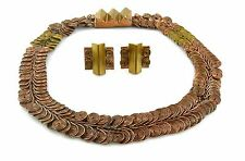 SUPERB 1940s LOYOLA FOURTANE Modernist Copper & Brass NECKLACE & EARRINGS Set