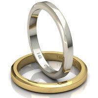 Slightly Flat Wedding Ring 14K White Yellow Rose Gold 2.50 mm Width Engraving
