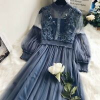 Retro Ladies Lace Hollow Out Puff Sleeves Floral Lolita Dress Mesh Elegant Fairy