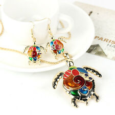 Women Gold Colorful Jewelry Set Turtle Pendant Necklace+Earring Party Jewelry