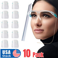 ✅ 10 PACK Face Shield Guard Mask Safety Protection With Glasses Reusable USA
