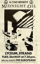 7/5/1983Pg41 A Cnd Benefit Concert Advert 8x5 Midnight Oil At The Lyceum Stand W
