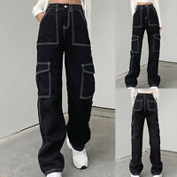 Women's Mid Waisted Wide Leg Pants Straight Poket Jeans Casual Baggy Trousers