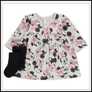 Baby Girls Disney Minnie Mouse Grey Dress & Tights Outfit 3-9 Months BNWT
