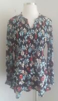 Lane Bryant Womens Smocked Front Top Black Modern Floral Plus Size 3X 22/24 NWT