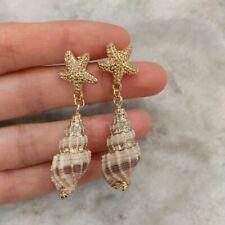 Anthropologie 18K Gold Plated Conch Shell Drop Earrings Beach Boho Summer