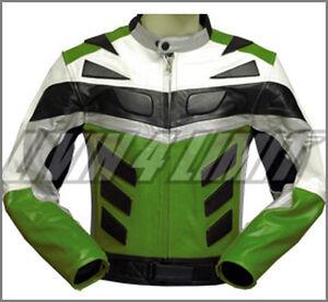Motorrad Jacke Leder Motorradjacke Lederjacke grün
