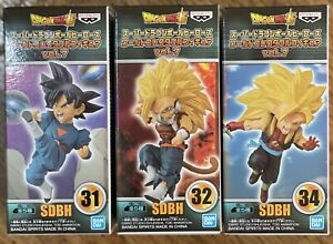 LOT Of 3 WCF Dragon Ball Z SDBH Volume 7 Figures NEW 31,32,&34 (2019 Banpresto)