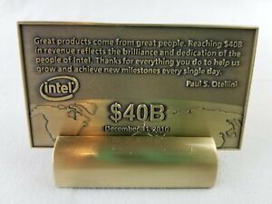 Intel Solid Brass Microchip $40B In Revenue Promotion Award Memorabilia 2010