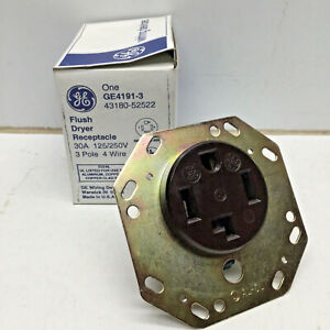 GE GE4191-3 Flush Dryer Receptacle 30A 125/250V 3-pole 4-wire NEMA 14-30R Brown