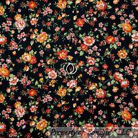 BonEful Fabric FQ Cotton Quilt Black Red Orange Yellow White Rose Flower Calico