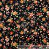 BonEful Fabric FQ Cotton Quilt Black Red Orange Yellow White Rose Flower Calico