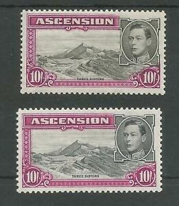ASCENSION GVI SG47&47b THE 2 PERFS (13&13.5) OF THE TOP VALUE 10/- MINT CAT £158