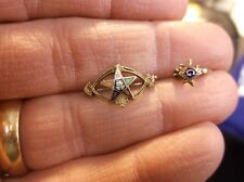 EXCELLENT VTG 10K TRI-GOLD OES EASTERN STAR LAPEL PIN & MASONIC COMPASS GUARD