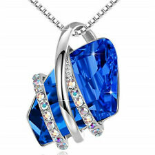 Ladies Fashion 925 Silver Plated Blue Crystal White Zircon Necklace Jewelry Gift