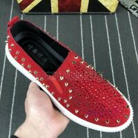 Mens Rivets Slip On Loafers Casual Shoes Sequins Driving Sneakers Rhinestones