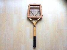 Vintage DUNLOP Blue Flash Tennis Racket with Wooden Frame Press