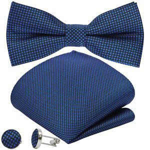 GASSANI 3-Set Karo Karierte Herren-Fliege Vintage Schleife Gepunktet Taschentuch