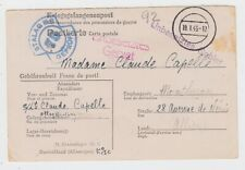 WW2 S/Lt Claude Capelle Prisoner of War Stalag IIIB Card to Montlucon France