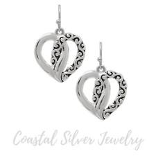 Heart Pattern Drop Earrings Silver NEW